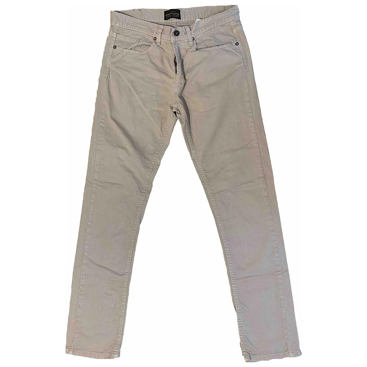 Pantalones en Algodon Beige Zara