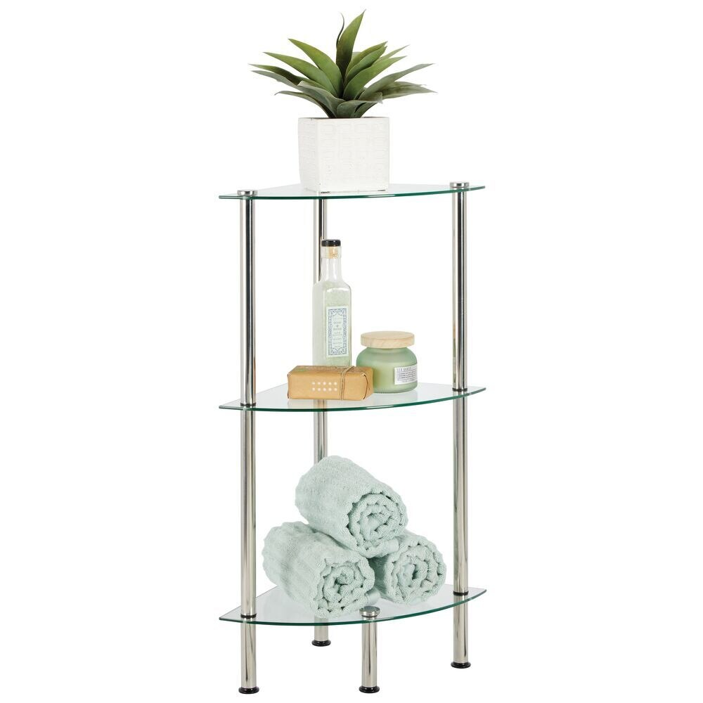 3 Tier Glass and Metal Bathroom Floor Storage Corner Tower 11.8