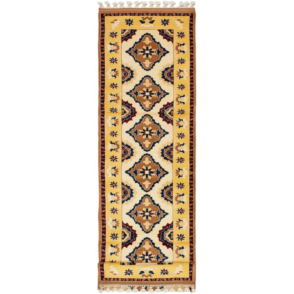 ECARPETGALLERY Hand-knotted Keisari Vintage Brown, Cream Wool Rug - 2'9 x 10'9 (Brown/ Cream - 2'9 x 10'9)