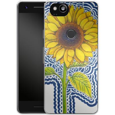 Google Pixel 2 Silikon Handyhuelle - Sunflower Drawing von Kaitlyn Parker