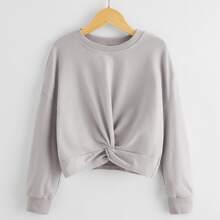 Girls Drop Shoulder Twist Front Sweatshirt
