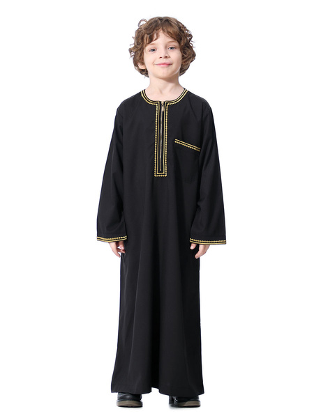Milanoo Boys\' Arabian Robe Solid Color Long Sleeve Arabian Abaya