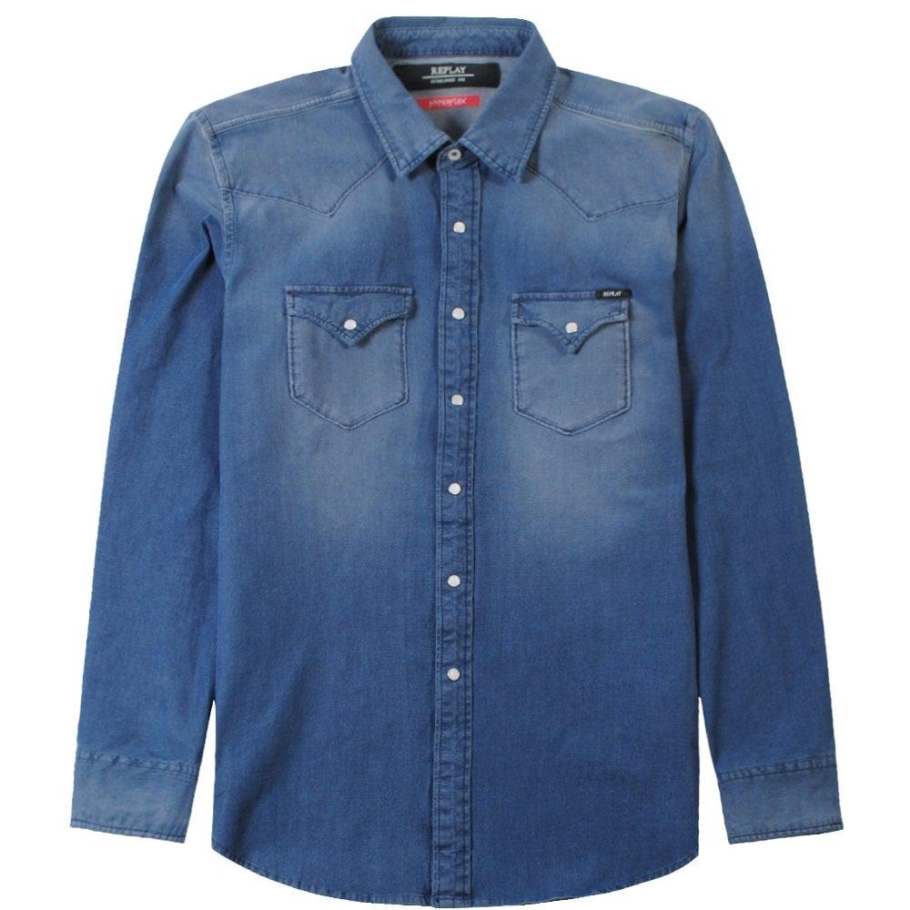 Replay Hyperflex Denim Buttoned Shirt Colour: BLUE, Size: MEDIUM