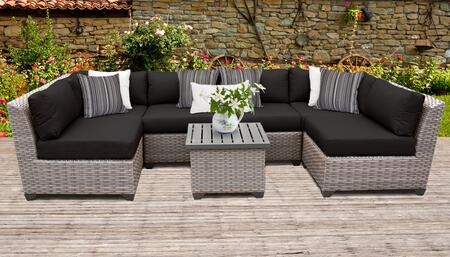 Florence Collection FLORENCE-07c-BLACK 7-Piece Patio Set 07c with 2 Corner Chair   4 Armless Chair   1 End Table - Grey and Black