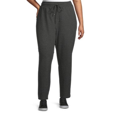 Liz Claiborne Womens Drawstring Pant - Plus, 2x , Gray