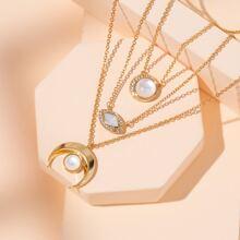 3pcs Rhinestone Decor Round Charm Necklace