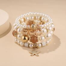 4 Stuecke Armband mit Seestern Anhaenger und Perlen