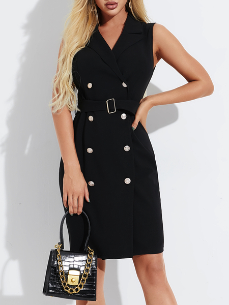YOINS Black Belt Design Front Button Lapel Collar Sleeveless Dress