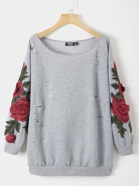 Yoins Grey Floral Round Neck Long Sleeves Sweatshirt