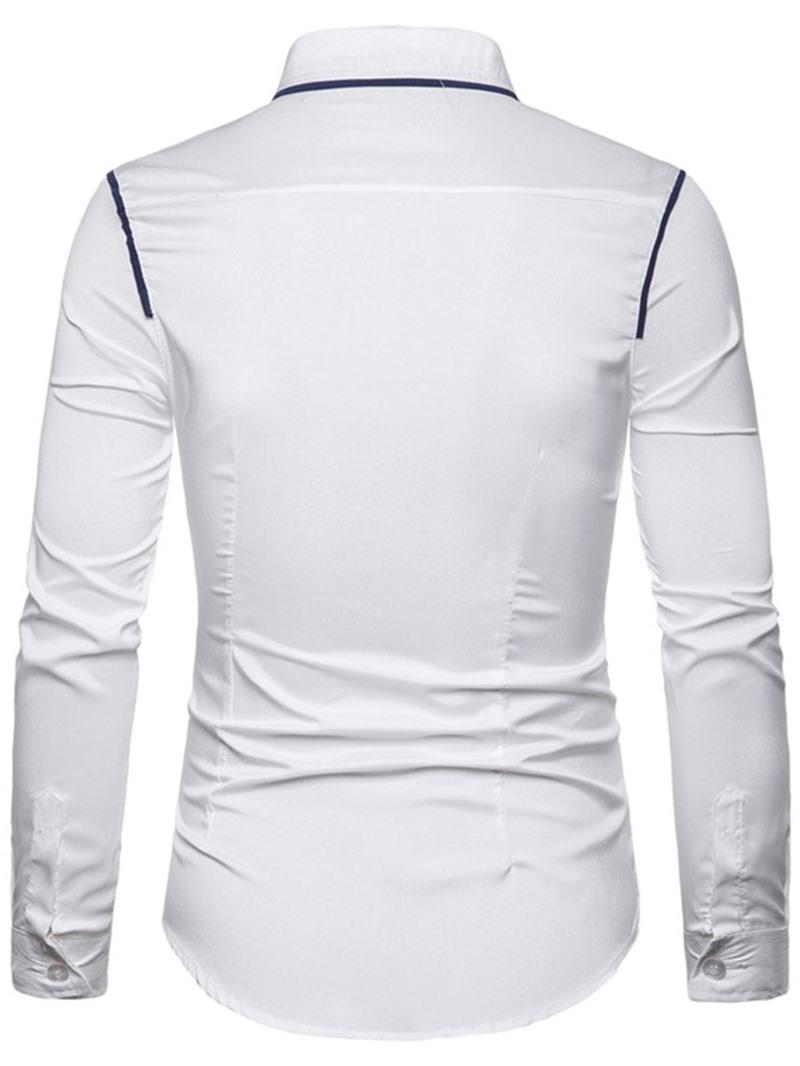 Ericdress Color Block Button Lapel Mens Slim Shirt