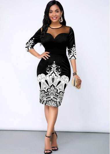 Black Dresses Three Quarter Sleeve Tribal Print Mesh Panel Dress - L