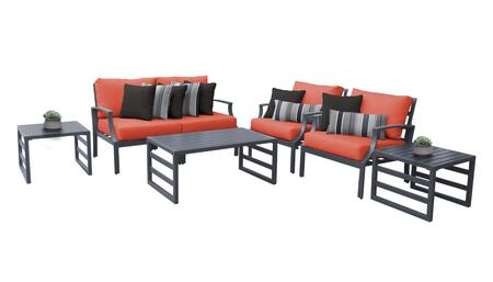 Lexington LEXINGTON-07d-TANGERINE 7-Piece Aluminum Patio Set 07d with 1 Left Arm Chair  1 Right Arm Chair  2 Club Chairs  1 Coffee Table and 2 End