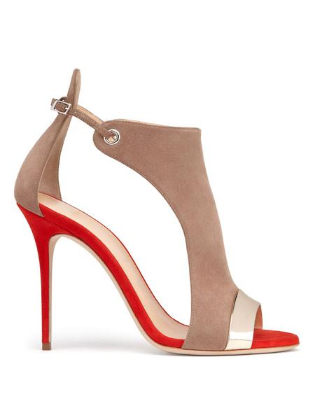 Milanoo High Heel Sandals Womens Suede Peep Toe Cut Out Stiletto Heel Sandals
