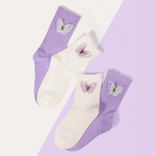 2pairs Butterfly Decor Socks