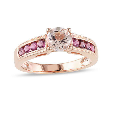 Genuine Morganite and Pink Tourmaline 14K Rose Gold Over Sterling Silver Ring, 8 , No Color Family