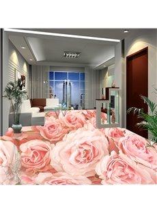 Romantic Pink Roses Waterproof Skid-resistance Formaldehyde-free Modern 3D Floor Murals
