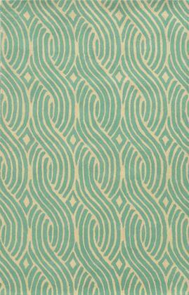 JLPJP8865H1GE0810 Julian Pointe JP8865-8' x 10' Hand-Tufted 100% Premium Blended Wool Rug in Aqua  Rectangle