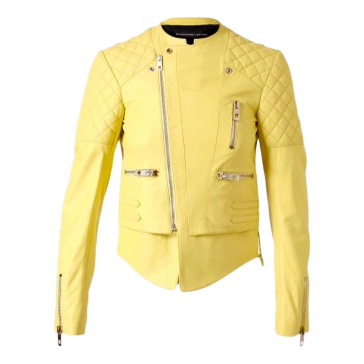 Balenciaga - Veste   pour femme en cuir - jaune