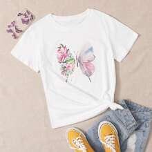 T-Shirt mit Blumen & Schmetterling Muster