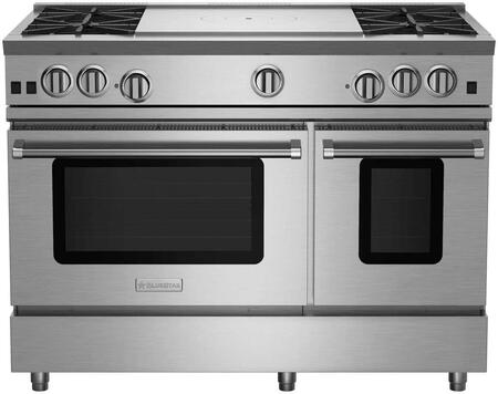 RNB484FTV2CCPLT 48 RNB Series Freestanding Gas Range with 4 Cast Iron Open Burners  4.5 Cu. Ft. Convection Oven  24 French Top  Simmer Burner  Full