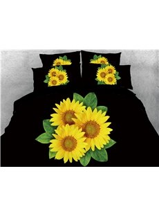 Alluring Sunflower Printed 3D 4-Piece Bedding Sets/Duvet Covers
