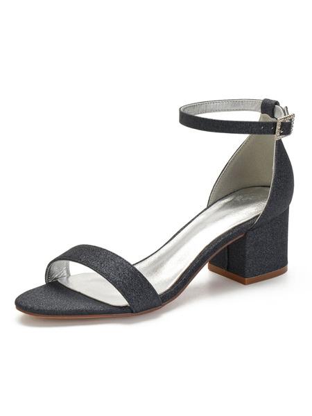 Milanoo Silver Wedding Shoes Block Heel Sandals Sequin Open Toe Ankle Strap Bridesmaid Shoes