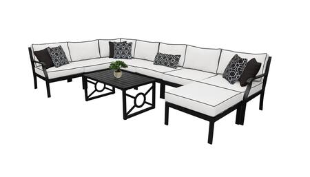 MADISON-09d-SNOW Kathy Ireland Homes and Gardens Madison Ave. 9 Piece Aluminum Patio Set 09d with 2 Sets of Snow