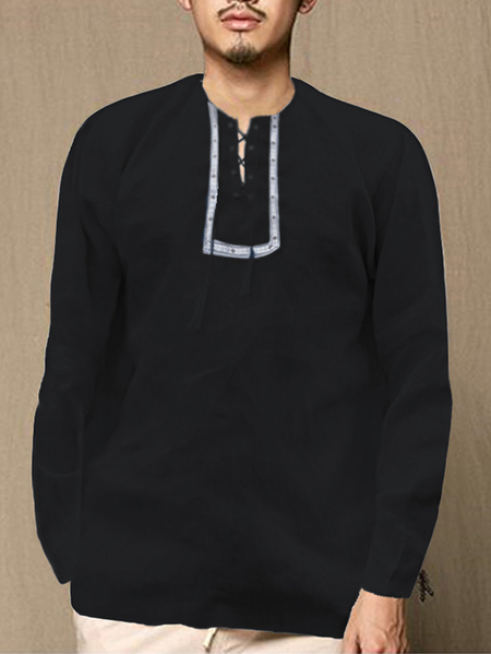 Yoins INCERUN Men Ethnic Embroidery Knotted Round Neck Long Sleeve T-Shirt
