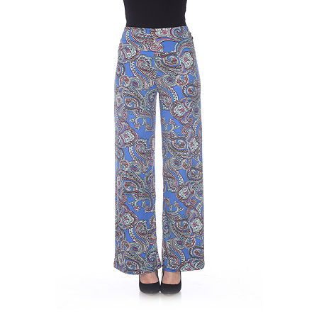 White Mark Womens Mid Rise Wide Leg Palazzo Pant, Small , Blue