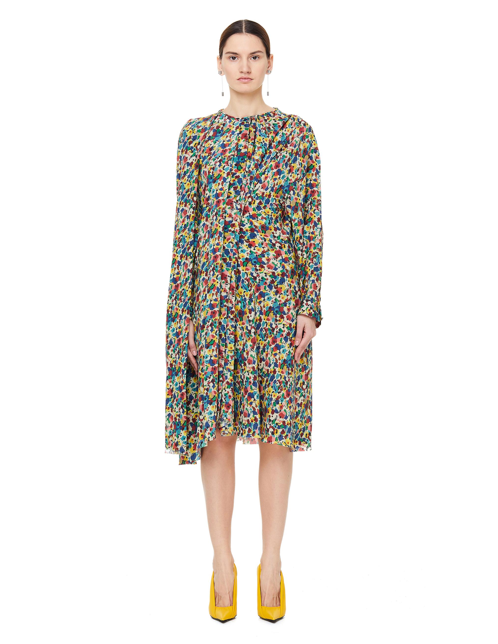 Balenciaga Silk Flower Printed Pulled Dress