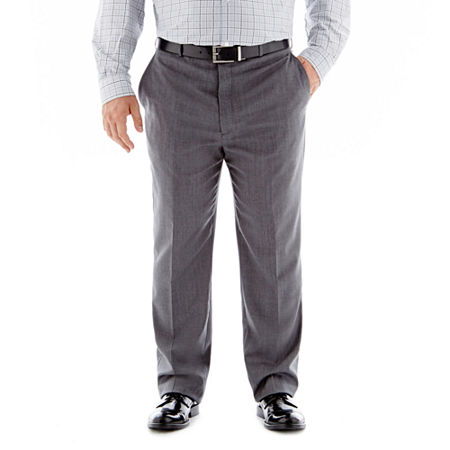 Stafford Executive Super 100 Wool Flat-Front Suit Pants-Big & Tall, 56 32, Gray