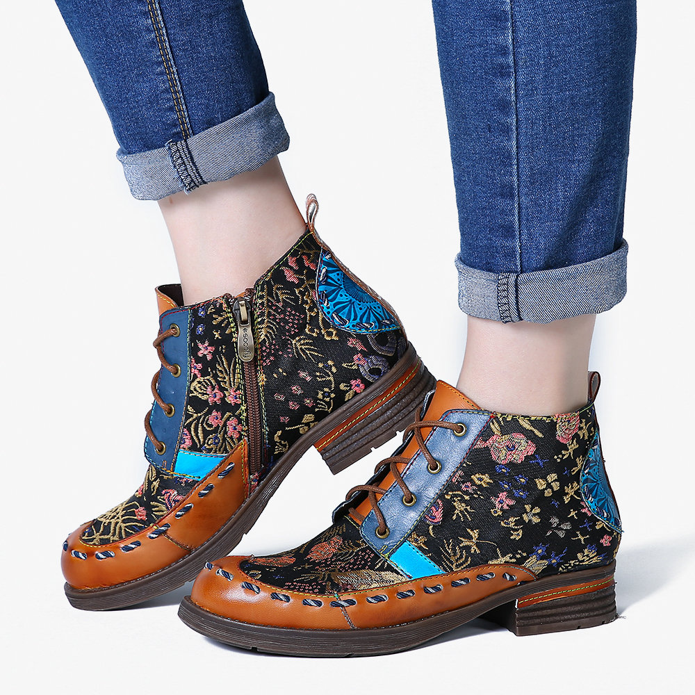 SOCOFY Retro Fancy Pattern Genuine Leather Stitching Zipper Lace Up Flat Ankle Boots