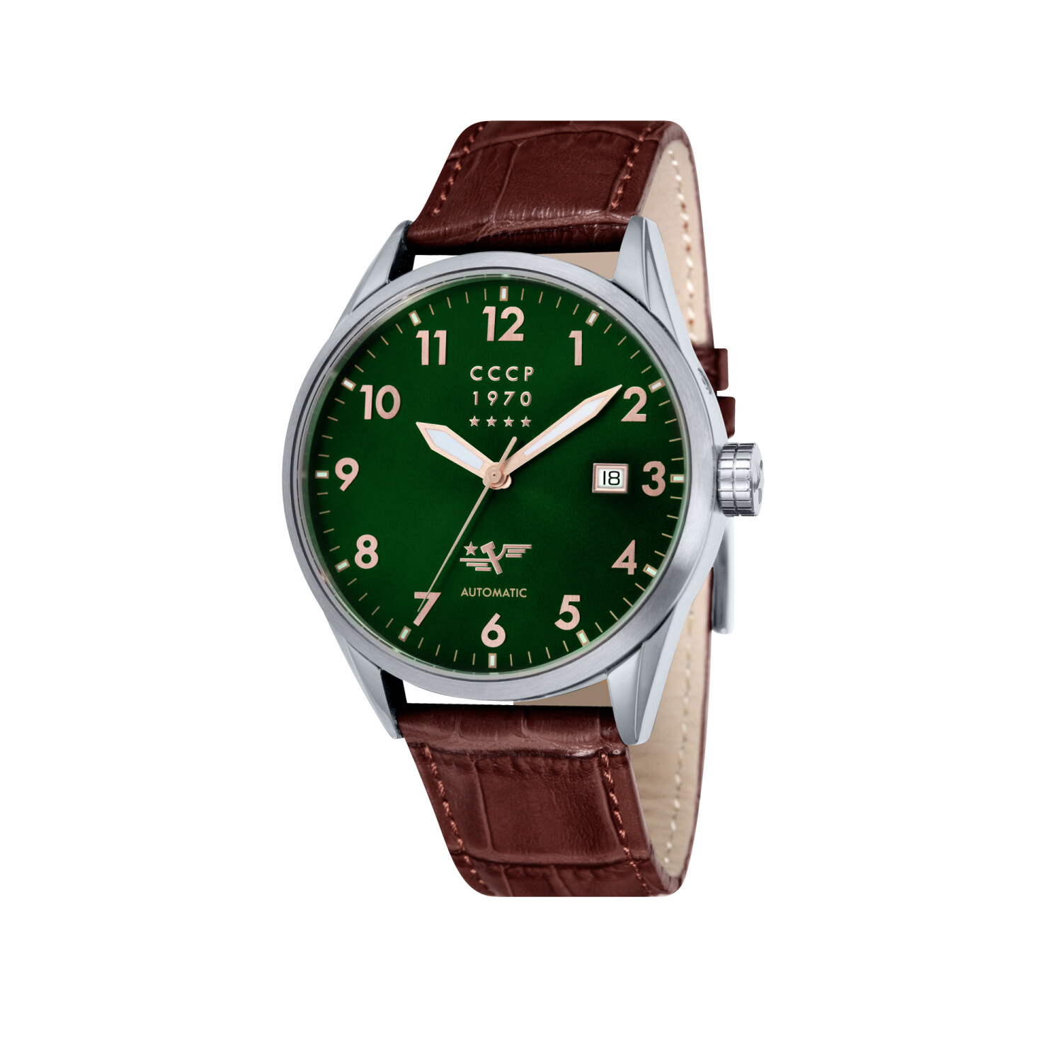 Cccp Men's Golden Soviet Submarine CP-7015-06 Silver Leather Automatic Self Wind Fashion Watch