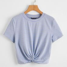 Striped Twist Front Crop Tee