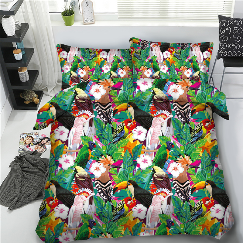 Blue Birds and Leaves Printing Cotton 4-Piece 3D Bedding Sets/Duvet Covers