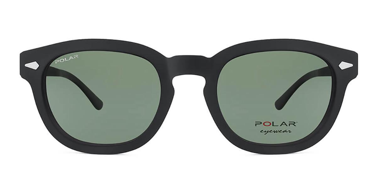 Polar PL 448 Clip On Polarized 76 Mens Sunglasses Black Size 48