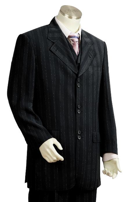 3 Piece 6 Button Black Fashion Suit Mens