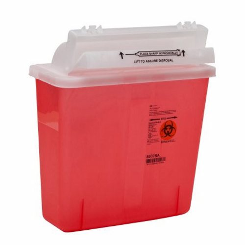 Sharps Container SharpStar In-Room 1-Piece 12-1/2 H X 5-1/2 D X 10-3/4 W Inch 5 Quart Translucent Re - 1 Each by Cardinal