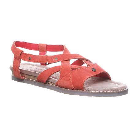 Bearpaw Womens Aruba Adjustable Strap Flat Sandals, 9 Medium, Red