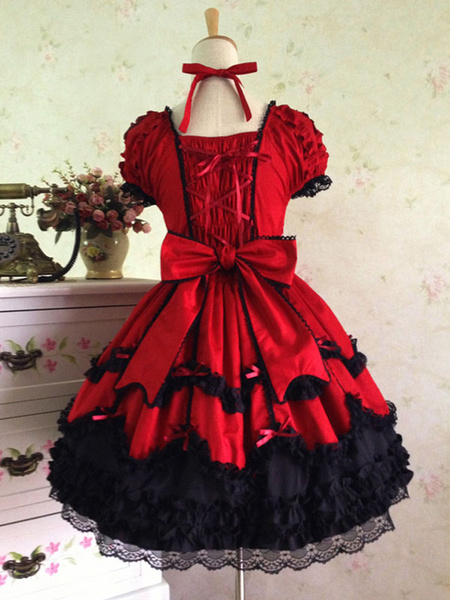 Milanoo Classic Lolita OP Dress Black Ruffles Lolita One Piece Dresses