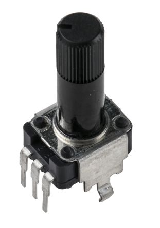 Alps Alpine Rotary Carbon Film Potentiometer with an 6 mm Dia. Shaft - 50kΩ, ±20%, 0.05W Power Rating, Logarithmic,