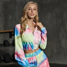 Double Crazy Tie Dye Drawstring Hem Zipper Jacket