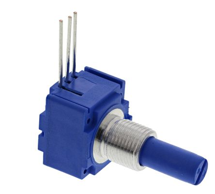 Bourns 1 Gang Rotary Conductive Plastic Potentiometer with an 6.35 mm Dia. Shaft - 100kΩ, ±20%, 0.25W Power Rating, CW