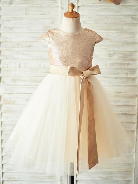 Milanoo Flower Girl Dresses Champagne Jewel Neck Short Sleeves Sash Kids Party Dresses