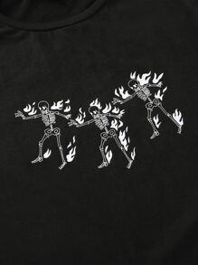 Skeleton & Fire Print Tee
