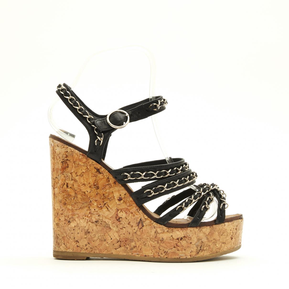 Chanel \N Black Leather Sandals for Women 36.5 EU