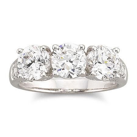 DiamonArt Cubic Zirconia 3-Stone Ring, 9 , No Color Family