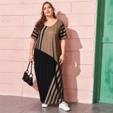 Kleid mit Farbblock und Streifen