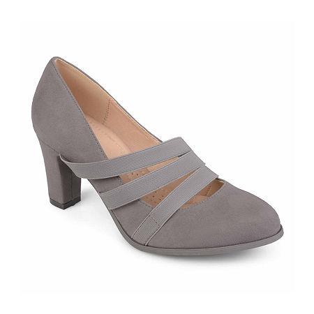 Journee Collection Womens Loren Pumps Stacked Heel, 12 Medium, Gray