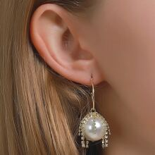1pair Rhinestone Decor Faux Pearl Drop Earrings